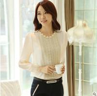 Spring Autumn Women Lace Beading Chiffon Blouse Long-sleeve Shirt