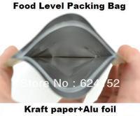 Promotion candy kraft paper zipper food bag with Aluminum foil laminated 13x21cm 0.28mm thick paper zipper food bags 100pcs/lot