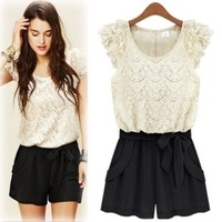 Women's 2014 Spring New XXL XL XXXL Clothing Chiffon Lace Patchwork One-Piece Shorts Plus Size Rompers and Jumpsuits for Women