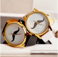 2014 NewNew Fashion Mustache Beard Watch for Boy and Girls Leather Strap Bracelet Vintage Wrist Women Watch