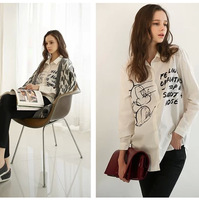 Free new 2014 spring tops brand cartoon letters print loose leisure blusas femininas chiffon blouse,plus size,Blouses & Shirts