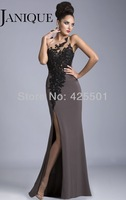 New Fashion Dress Sexy Sheer Backless Side Slit 2014 Formal Elegant Party Dress Gowns Women Long Evening Dresses Black Lace