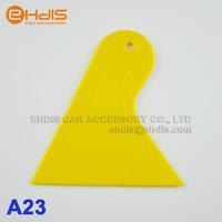 Mini size triangle plastic Squeegee Yellow scraper  auto carbon fiber wrap vinyl film install scraper tools 10pcs A23