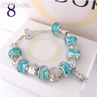 Free Shipping 925 Silver bracelet fashion jewelry. chamilia beads bracelet silver plated brand