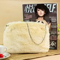 Free Shipping Brand Fashion Women Lady Wool Fur Leather Totes Handbag Bag, Clutch bags Shoulder Bag Messenger Bag