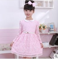 New Spring And Autumn Girls Lace Dress Princess Dress Children Clothing baby boutique long Sleeve Dress Free Shipping