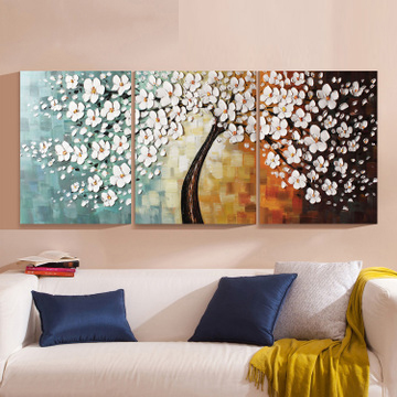 3 Panels 100 Hand Paint Modern Oil Painting Palette Knife Textured Oil painting On Canvas Wall