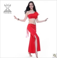 Wholesale,New 2 Pieces Top&Pants Single Shoulder Belly Dance Practice Clothing 9 Colors TP 2107