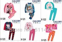 Retail / 2014 spring baby girls boys unisex peppa pig princess airplane long sleeve pajamas