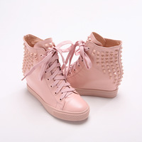 2014 spring shoes genuine leather lacing elevator casual shoes high shoes women's rivet