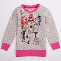 FREE SHIPPING 2014 new Baby girls t-shirt with printed cartoon characters spring / autumn  long sleeve T-shirt for girl F4716