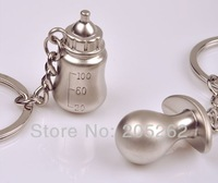 Korean LOVELY couple feeding bottle & nipple Key chains nursing keyfobs key ring