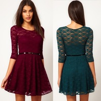 The spring 2014  European and American  in same all lace girl's dress  dress candy color umbrella dress with belt