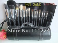 Free shipping HKPOST Big Discount !! 16 PCS Pro Makeup Brush Set 16pcs Make up Cosmetic Tools With Round Leather case ann0018