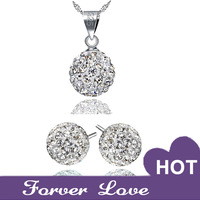 "Sona Synthetic Diamond Colorful ""Starry""  Pendant Necklace & Earrings Set 2014 New Shining  925 sterling silver  Platinum Plated"