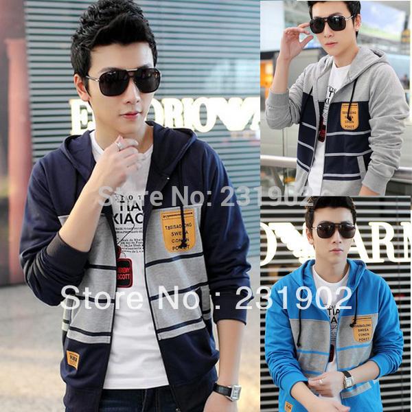 Mens Stylish Fashion Hoodies Men's Sports Outwear Blazer Stripped Hoody 2014 New CM045(China (Mainland))