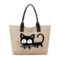 2014 new fashion canvas women handbag flax cartoon cat Japan cute tote shoulder bag free/drop shipping