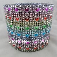 (FL162)5 Yards Sparkle Colorful Heart Rhinestone Crystal Diamond Mesh Wrap Roll Ribbon