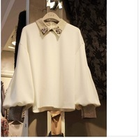 2014 spring long-sleeve loose fashion long-sleeve chiffon shirt women's
