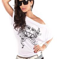 Hot 2014 summer new fashion sexy painted ladies spandex bat sleeve women's T-shirt 25031 wholesale price tees women t shirt
