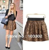 2014 Leopard grain skirt skirt elastic waist leopard petal skirt