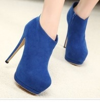 Fashion short boots double platform flock high heel zip boots women high-heeled pumps night club sexy shoes bar women shoes pump