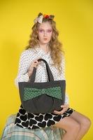 Cotton and linen blend handwork solid bow women's one shoulder handbag bag cloth fashion handbag