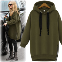 Plus velvet thickening with a hood side zipper female thermal pullover sweatshirt outerwear winter 6170