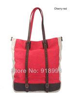 Muchuan Korean casual fashion canvas bag hit the color handbags with leather shoulder bag Mobile Messenger