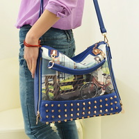 2014 New Arrive Painting Rivet Women Shoulder Bags Cross-body Handbag Fashion Messenger Bag