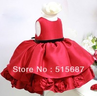 Free shipping!2014 summer Girls Rose Bow sleeveless pageant dress ball gown flower girl dress princess tutu dress 3color 2-6T