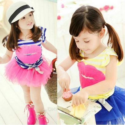 5sets/lot 2014 New Summer Red lip Baby Girls' Two piece Dress Set Little Girl Striped T Shirt + TUTU Fluffy Skirt(China (Mainland))