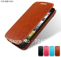 Free Shipping  Pudini Lenovo S750 Case PU Leather Phone Case And Slim Smart Cover For Lenovo S750 Flip Leather Case