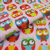 Pink Fat owls printed cotton quilting fabric patchwork textiles for sewing cloth DIY 150cm wide 5 meters