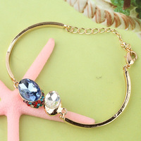 Free Shipping Fashion New Women/Girl's 18k Yellow Gold Filled Colorful Austrian Crystal Bracelet & Bangle Gift Jewelry