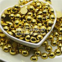 free shipping 1.5-6mm 10000-5000pcs/lot flat back golden half pearl DIY jewelry accessories