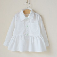 2014 new spring  white long-sleeved shirt double pocket of high-quality cotton blouse for girls