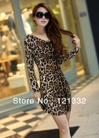 Korean version of the new women's round neck cotton long-sleeved leopard print mini dress free shipping