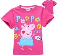Girls Clothing 2014 New Summer Pink T Shirt For Kids Girl Brand Peppa pig Brand Kid Girls' Clothes tshirt t-shirt