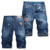 Hot new PLUS SIZE washing frayed blue straight fashion casual shorts, free shipping