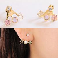 (Min order$5)Free Shipping!  accessories fresh small aesthetic flower digital 5 pearl stud earring rose crystal earrings female