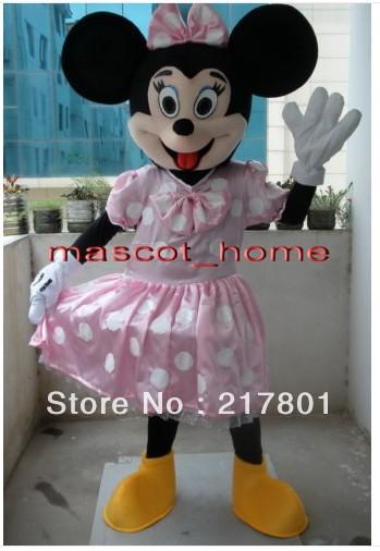 Character Rosa Minnie Mouse Adulto Mascot Costume Equipamento extravagante dos desenhos animados do vestido de partido Frete Grátis(China (Mainland))