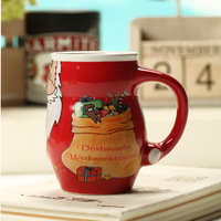 Fashion Gift Lovely Father Christmas Ceramic Mug Water Cup