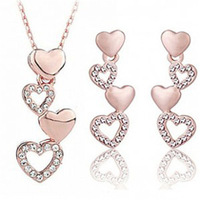 Wholesales High quality Austrian element crystal necklaces & pendants earrings fashion costume jewelry sets -Heart by heart