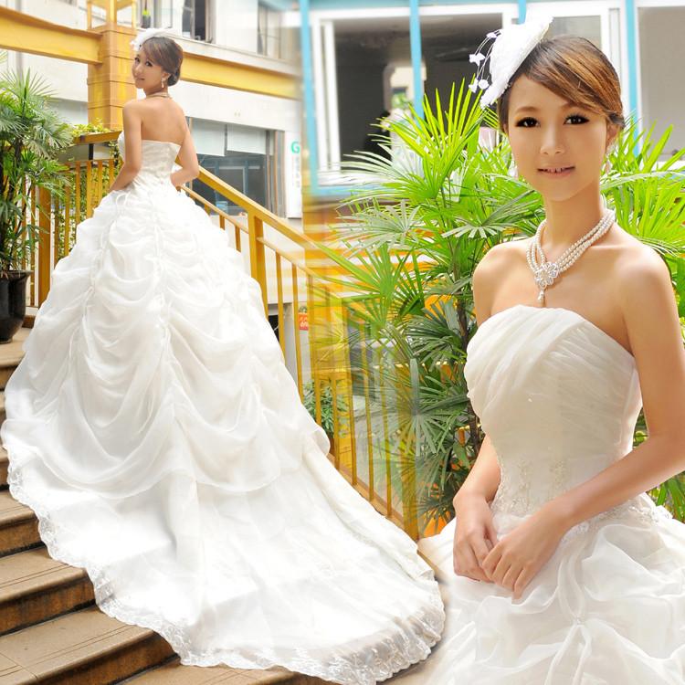 di lusso ricamo principessa pizzo che pulire una seno grande coda abito da sposa