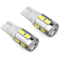 2 x T10 10 SMD 5630 LED 5W Super Bright Car LED Bulbs White with Lens + no polarity + Aluminum cover 12V