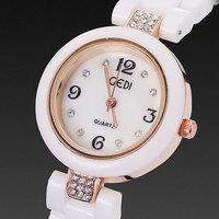 2014 new relojes women dress watches ceramic bracelets elegant crystal diamonds rose gold plated case quartz hour free shipping