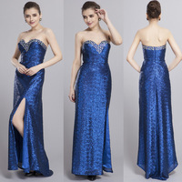 2014 Elegant Blue Sequins Beading Women full length long prom dresses