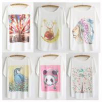 new 2014 Summer hot t-shirt new batwing sleeve tshirts women plus size flowers anima cartoon printed tees Dropship TS-067