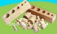 Wooden cylindrical sockets puzzle early  childrens learning education  toy  Multifunction Fun